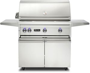 "VQGFS5361LSS Viking 36"" Professional 5 Series Liquid Propane Freestanding Gril and Cart with ProSear Burner and Rotisserie - Stainless Steel"