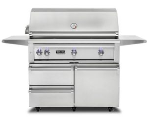 """VQGFS5420LSS Viking 42"""" Professional 5 Series Liquid Propane Freestanding Grill and Cart with ProSear Burner and Rotisserie - Stainless Steel"""