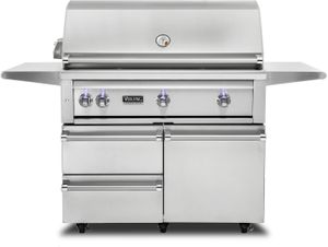 "VQGFS5420LSS Viking 42"" Professional 5 Series Liquid Propane Freestanding Grill and Cart with ProSear Burner and Rotisserie - Stainless Steel"