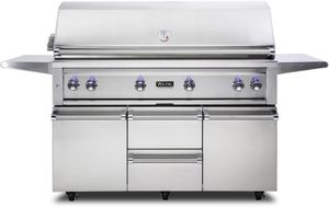 """VQGFS5541NSS Viking 54"""" Professional 5 Series Natural Gas Freestanding Grill and Cart with ProSear Burner and Rotisserie - Stainless Steel"""