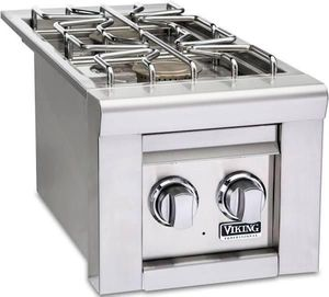 """VQGSB5131LSS Viking 13"""" Professional 5 Series Liquid Propane Double Side Burners with Blue LED Illumination and Hot Surface Ignition - Stainless Steel"""