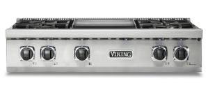"VRT5364GSSLP Viking 36"" Liquid Propane Gas Sealed 4 Burner Rangetop with Griddle and SureSpark Ignition System - Stainless Steel"