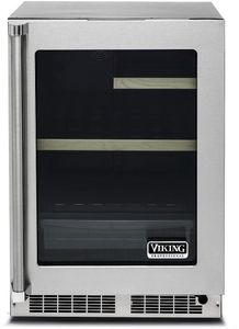 """VRUI5240GRSS 24"""" Viking Professional 5 series Undercounter Compact Beverage Center with Electronic Controls and Dynamic Cooling Technologies - Right Hinge - Stainless Steel"""