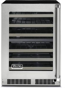 """VWUI5240GLSS 24"""" Viking Professional 5 Series Clear Glass Undercounter Wine Cellar with Digital Control and LED Lighting - Left Hinge - Stainless Steel"""
