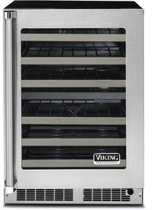 """VWUI5240GRSS 24"""" Viking Professional 5 Series Clear Glass Undercounter Wine Cellar with Digital Control and LED Lighting - Right Hinge - Stainless Steel"""