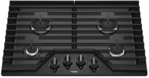 """WCG55US0HB Whirlpool 30"""" Sealed 4 Burner Gas Cooktop with EZ 2 Lift Hinged Cast Iron Grates and Upswept SpillGuard Cooktop - Black"""