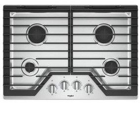 Wcg55us0hs Whirlpool 30 Sealed 4 Burner Gas Cooktop With Ez 2 Lift Hinged Cast Iron Grates