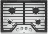 """WCG55US0HS Whirlpool 30"""" Sealed 4 Burner Gas Cooktop with EZ 2 Lift Hinged Cast Iron Grates and Upswept SpillGuard Cooktop - Stainless Steel"""