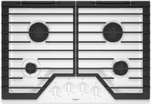 """WCG55US0HW Whirlpool 30"""" Sealed 4 Burner Gas Cooktop with EZ 2 Lift Hinged Cast Iron Grates and Upswept SpillGuard Cooktop - White"""