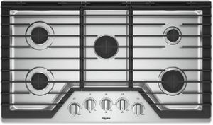 "WCG55US6HS Whirlpool 36"" Built-In 5 Sealed Burner Gas Cooktop with EZ 2 Lift Hinged Cast Iron Grates and Upswept SpillGuard Cooktop - Stainless Steel"