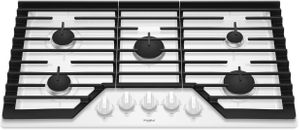"WCG55US6HW Whirlpool 36"" Sealed 5 Burner Gas Cooktop with EZ 2 Lift Hinged Cast Iron Grates and Upswept SpillGuard Cooktop - White"
