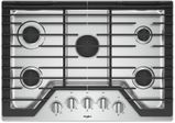 """WCG77US0HS Whirlpool 30"""" Sealed 5 Burner Gas Cooktop with EZ 2 Lift Hinged Cast Iron Grates and Upswept SpillGuard Cooktop - Stainless Steel"""