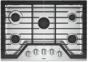 """WCG97US0HS Whirlpool 30"""" Sealed 5 Burner Gas Cooktop with EZ 2 Lift Hinged Cast Iron Grates and Upswept SpillGuard Cooktop - Stainless Steel"""