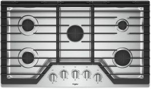 """WCG97US6HS Whirlpool 36"""" Sealed 5 Burner Gas Cooktop with EZ 2 Lift Hinged Cast Iron Grates and Upswept SpillGuard Cooktop - Stainless Steel"""