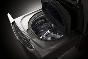 WD205CK LG Signature SideKick 1.0 Cu. Ft. 6-Cycle High-Efficiency Pedestal Washer - Black Stainless Steel