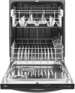 """WDT730PAHV Whirlpool 24"""" Top Control Built-In Tall Tub Dishwasher with Sensor Cycle and 5 Wash Cycles - Black"""