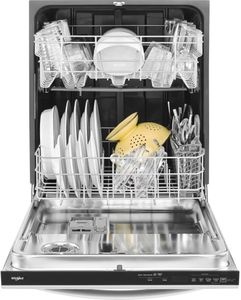 "WDT730PAHZ Whirlpool 24"" Top Control Built-In Tall Tub Dishwasher with Sensor Cycle and 5 Wash Cycles - Fingerprint Resistant Stainless Steel"