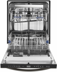 """WDT975SAHV Whirlpool 24"""" Built-In Undercounter Dishwasher with Sani Rinse Option and Third Level Rack - Black Stainless Steel"""
