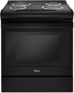 """WEC310SAGB Whirlpool 30"""" Guided Electric Front Control Coil Range with Frozen Bake Technology and High Speed Coil Elements - Black"""