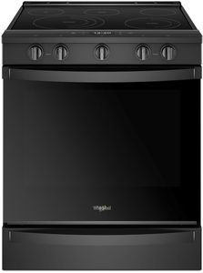 """WEE750H0HB Whirlpool 30"""" Smart Slide-In Electric Range with Frozen Bake Technology and True Convection Cooking - Black"""