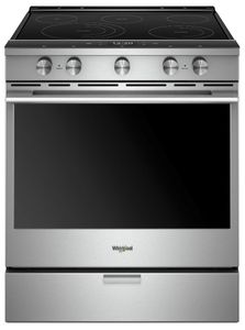 """WEEA25H0HZ Whirlpool 30"""" Smart Contemporary Handle Slide-In Electric Range with Frozen Bake Technology and True Convection Cooking - Fingerprint Resistant Stainless Steel"""