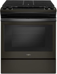 "WEG515S0FV Whirlpool 30"" Front Control Gas Range with Cast Iron Grates and Frozen Bake Technology - Fingerprint Resistant Black Stainless Steel"