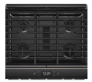 "WEGA25H0HN Whirlpool 30"" Smart Contemporary Handle Slide-In Gas Range with Frozen Bake Technology and True Convection Cooking - Fingerprint Resistant Sunset Bronze"