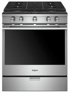"""WEGA25H0HZ Whirlpool 30"""" Smart Contemporary Handle Slide-In Gas Range with Frozen Bake Technology and True Convection Cooking - Fingerprint Resistant Stainless Steel"""