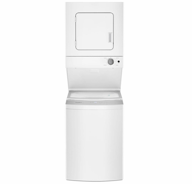 Wet4024hw Whirlpool 24 Stacked Laundry Center Washer Electric Dryer With Easyview Glass Lid White