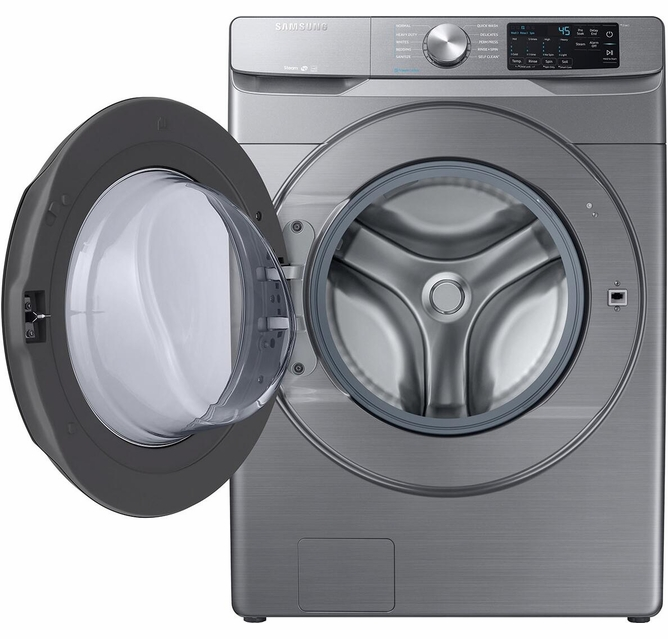 Wf45r6100ap Samsung 27 Smart 4 5 Cu Ft Front Load Washer With Self Clean And Smart Care
