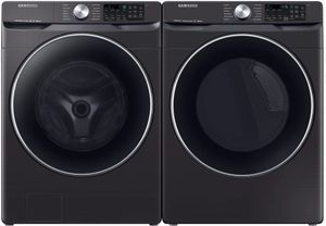 "WF45R6300AV Samsung 27"" Bixby Enabled Front Load Washer with Super Speed and Steam - Fingerprint Resistant Black Stainless Steel"