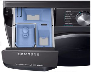 """WF45R6300AV Samsung 27"""" Bixby Enabled Front Load Washer with Super Speed and Steam - Fingerprint Resistant Black Stainless Steel"""