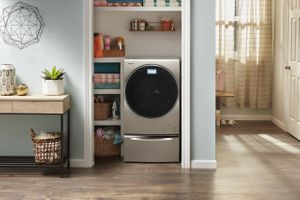 "WFC8090GX Whirlpool 24"" Electric Smart All In One Washer and Dryer with Wrinkle Shield Option and Intuitive Controls - Cashmere"