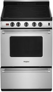 "WFE500M4HS Whirlpool 24"" Freestanding Electric Range with Upswept SpillGuard Cooktop and Hot Oven Indicator Light - Stainless Steel"