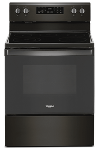 "WFE525S0JV Whirlpool 30"" 5.3 Cu. Ft. Freestanding Electric Range with Frozen Bake Technology and FlexHeat Radiant Element - Fingerprint Resistant Black Stainless Steel"