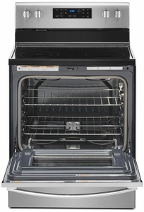 """WFE525S0JZ Whirlpool 30"""" 5.3 Cu. Ft. Freestanding Electric Range with Frozen Bake Technology and FlexHeat Radiant Element - Fingerprint Resistant Stainless Steel"""