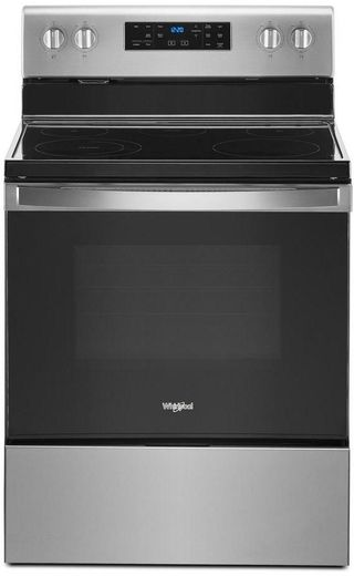 "WFE525S0JZ Whirlpool 30"" 5.3 Cu. Ft. Freestanding Electric Range with Frozen Bake Technology and FlexHeat Radiant Element - Fingerprint Resistant Stainless Steel"