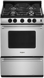 """WFG500M4HS Whirlpool 24"""" Smart Freestanding 4 Sealed Burner Gas Range with AccuSimmer Burner and Broiler Drawer  - Stainless Steel"""