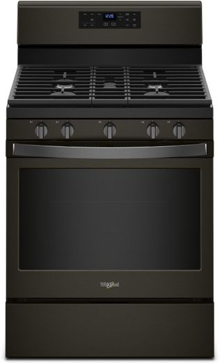 "WFG525S0HV Whirlpool 30"" 5.0 Cu. Ft. Freestanding Gas Range with Center Oval Burner - Black Stainless Steel"