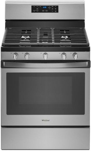 "WFG525S0HZ Whirlpool 30"" 5.0 Cu. Ft. Freestanding Gas Range with Center Oval Burner - Fingerprint Resistant Stainless Steel"