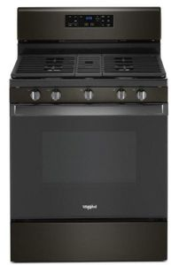 "WFG525S0JV 30"" Whirlpool 5.0 Cu. Ft. Freestanding Gas Range with SpeedHeat Burner and Closed Door Broiling - Fingerprint Resistant Black Stainless Steel"