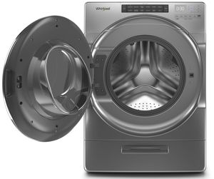 "WFW6620HC 27"" Whirlpool 4.5 cu. ft. Closet Depth Front Load Washer with Load & Go XL Dispenser and Intuitive Controls - Chrome Shadow"