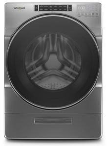 """WFW8620HC 27"""" Whirlpool 5.0 cu. ft. Front Load Washer with 12 Hour FanFresh and Load & Go Dispenser - Chrome Shadow"""