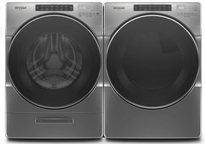 "WGD6620HC 27"" Whirlpool 7.4 cu. ft. Front Load Gas Dryer with EcoBoost Option and Quad Baffle - Chrome Shadow"