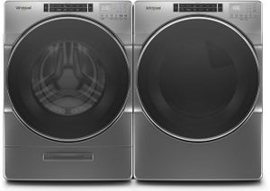 """WGD6620HC 27"""" Whirlpool 7.4 cu. ft. Front Load Gas Dryer with EcoBoost Option and Quad Baffle - Chrome Shadow"""