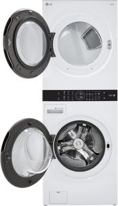 """WKE100HWA LG 27"""" Smart Electric WashTower with 4.5 cu ft Washer and 7.4 cu ft Dryer - White"""