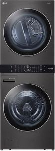 """WKEX200HBA LG 27"""" Laundry WashTower with 4.5 cu ft Washer and 7.4 cu ft Electric Dryer - Black Steel"""
