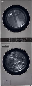 """WKG101HVA LG 27"""" Smart Gas WashTower with 4.5 cu ft Washer and 7.4 cu ft Dryer - Graphite Steel"""