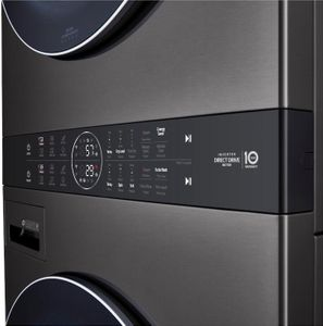"""WKGX201HBA LG 27"""" Laundry WashTower with 4.5 cu ft Washer and 7.4 cu ft Gas Dryer - Black Steel"""