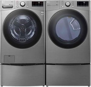 """WM3600HVA LG 27"""" 4.5 cu.ft. Ultra Large Capacity Front Load Washer with Steam and Wi-Fi Connectivity - Graphite Steel"""